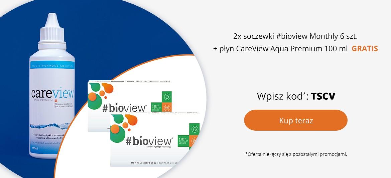 2x soczewki #bioview Monthly 6 szt. + płyn CareView Aqua Premium 100 ml GRATIS